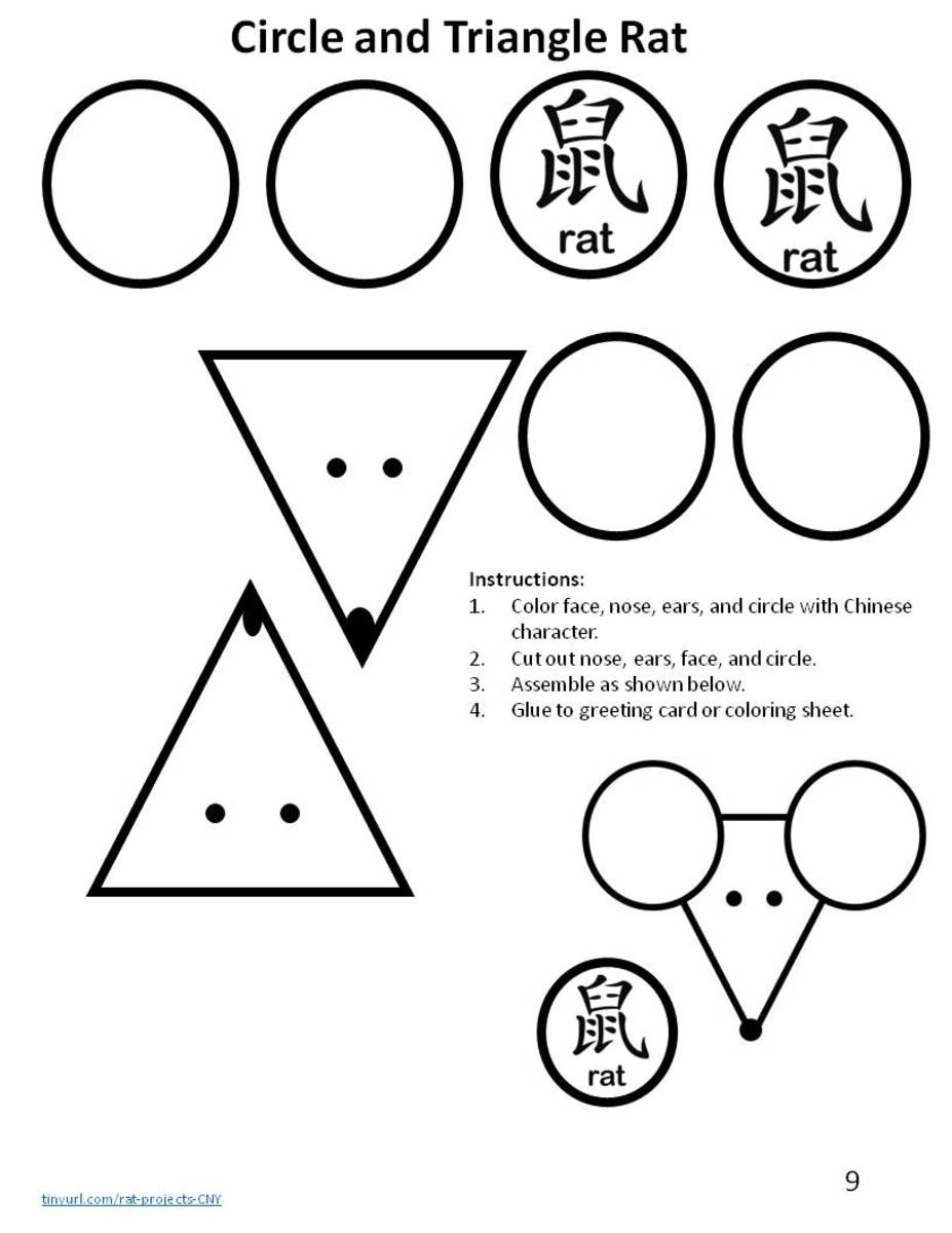 "This template has shapes to color, cut, and assemble to make to rat faces along with the Chinese character and English word for ""rat."" Use for decorating things like greeting cards or bookmarks."
