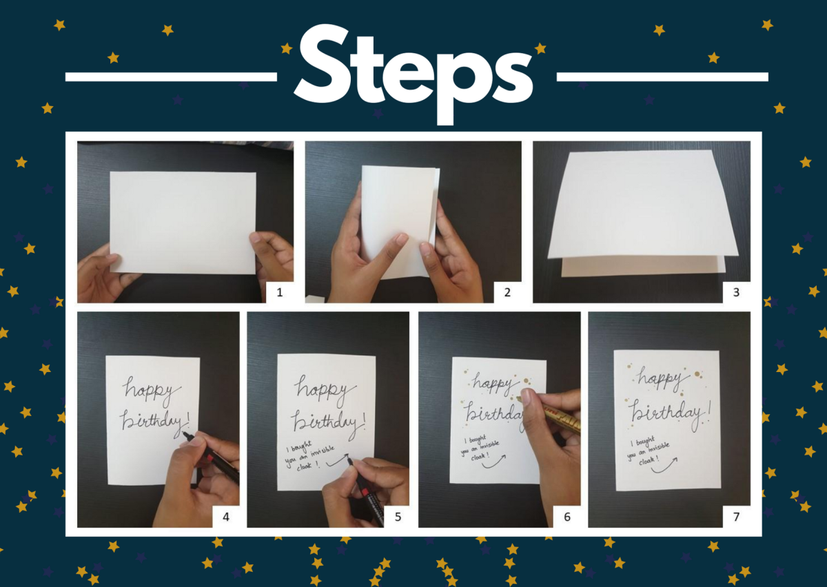 Invisibility Cloak Greeting Card Steps