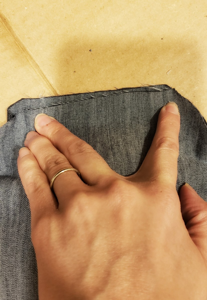 Once you have the desired level of plushness, lay your bunny flat and push the two pieces of fabric together.