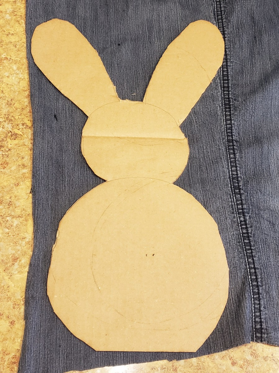 Using a black Sharpie, trace your bunny shape onto your fabric.