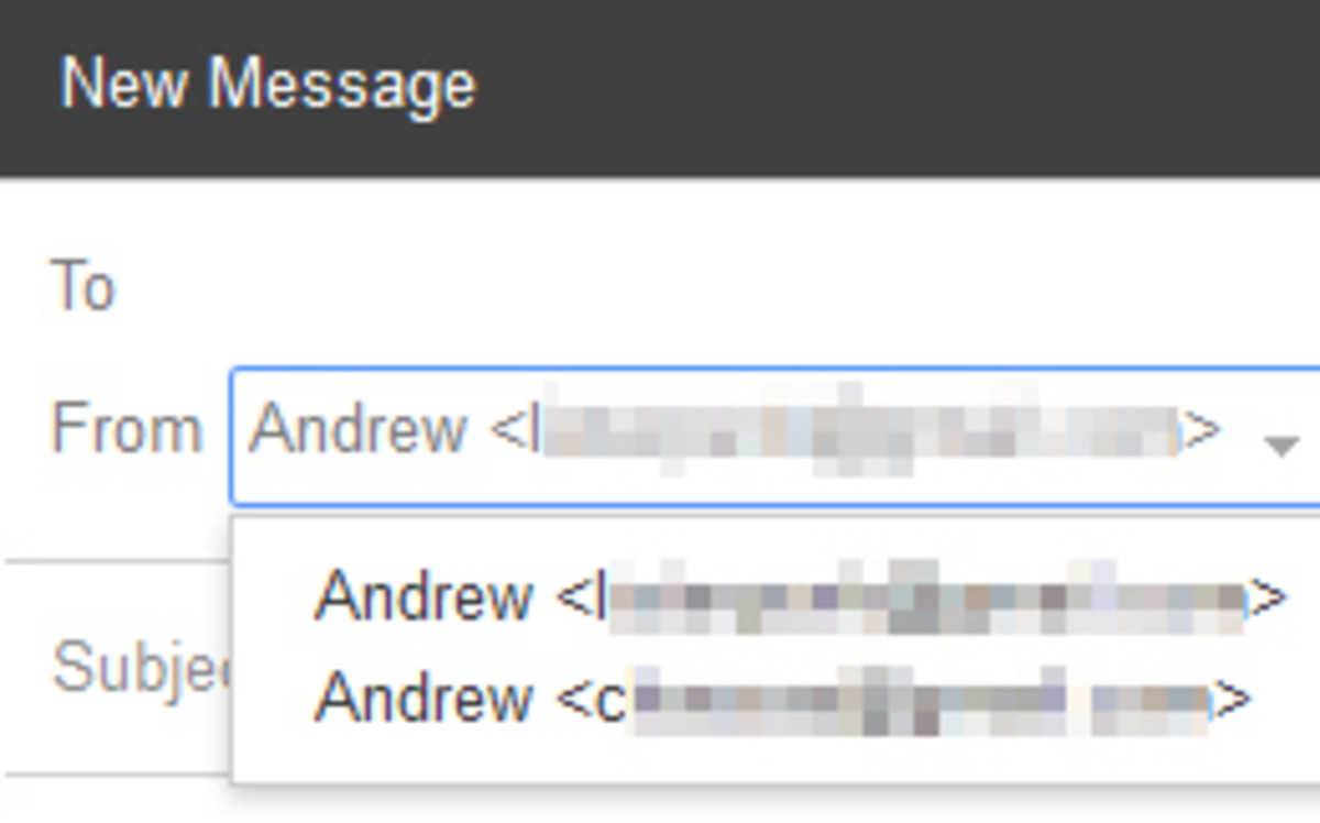 """A dropdown menu will allow you to choose the """"From"""" address easily."""
