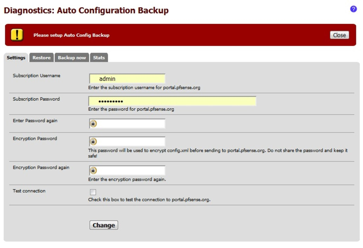 To use the auto config backup service you must have a pfSense support subscription.