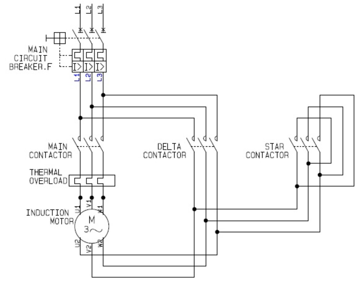 Star Delta Motor Control Power Circuit | Source: CAD drawing by ianjonas