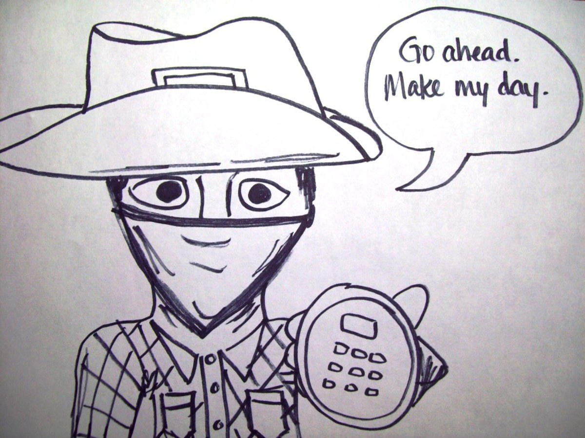 Here's my quick sketch of a cowboy holding a phone...instead of a gun.