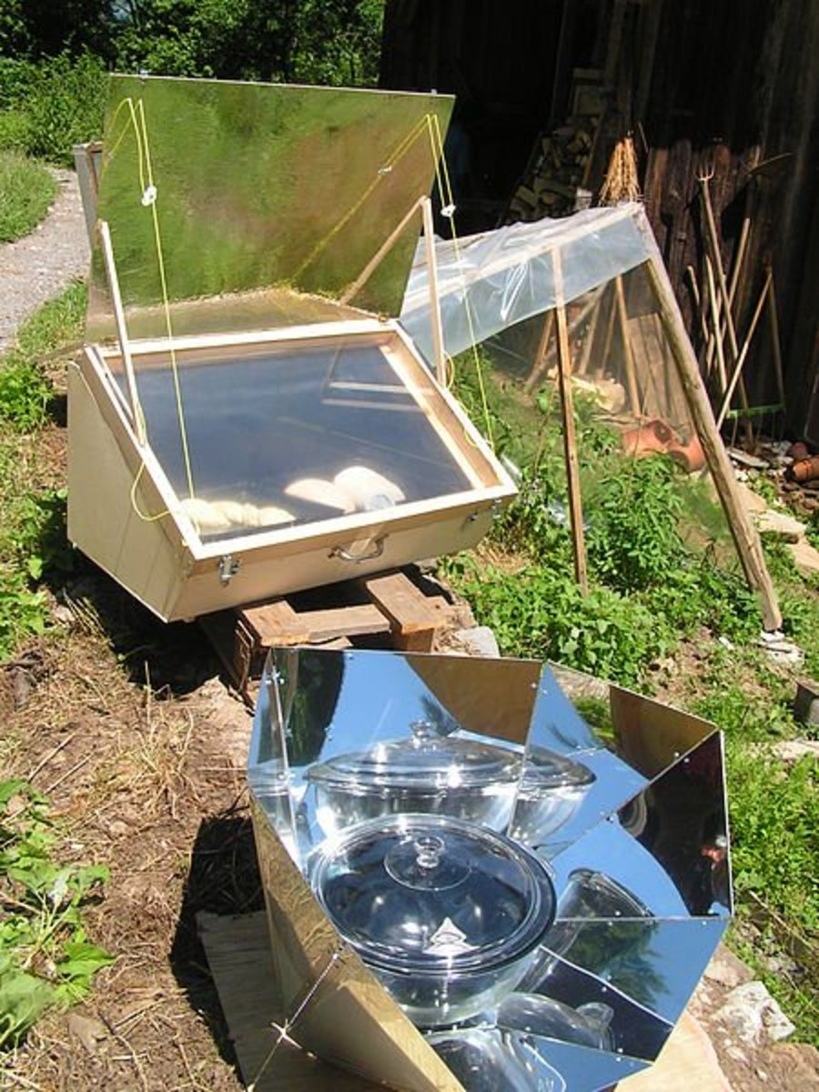 A solar cooker lets people cook without creating air pollution from fires.