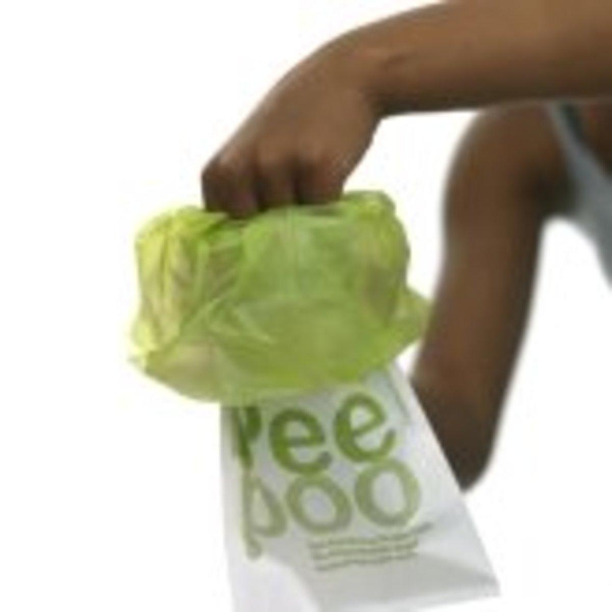 The Peepoo is a single-use, biodegradable bag.