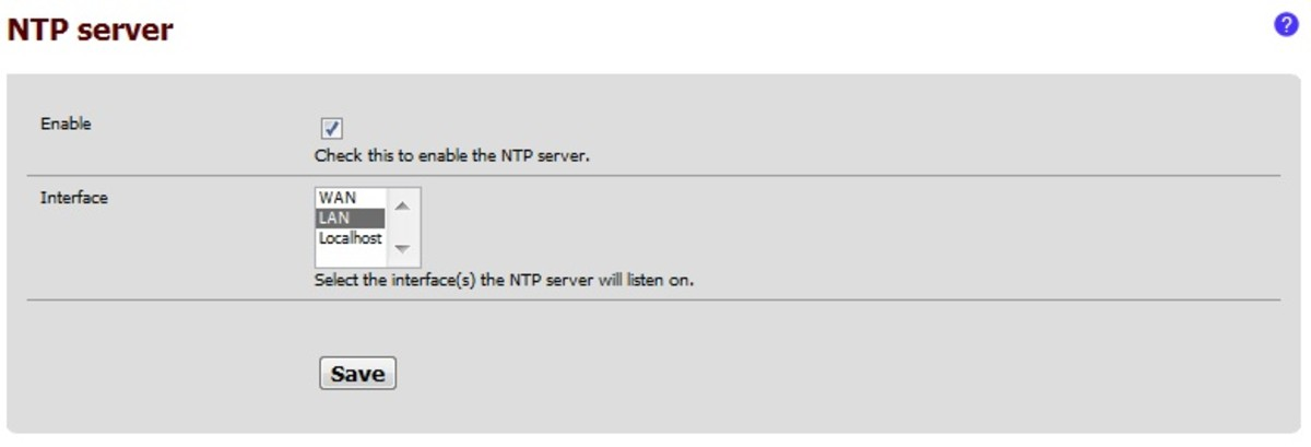 To enable OpenNTPD access the configuration page in the services menu.