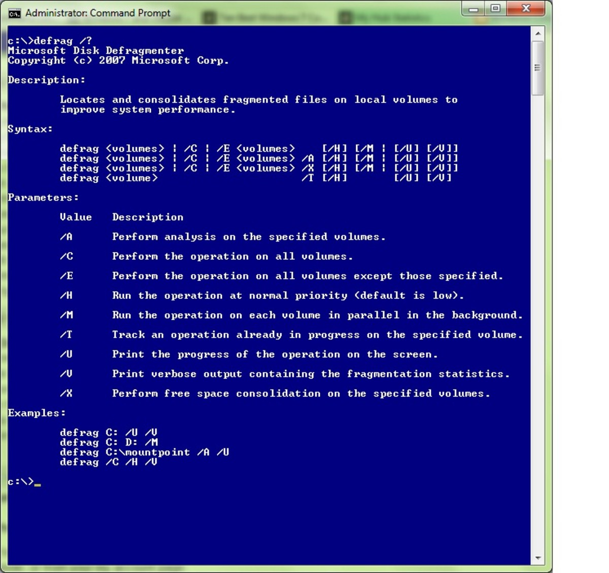 Did you know you can defrag right from the Windows 7 CMD Line?