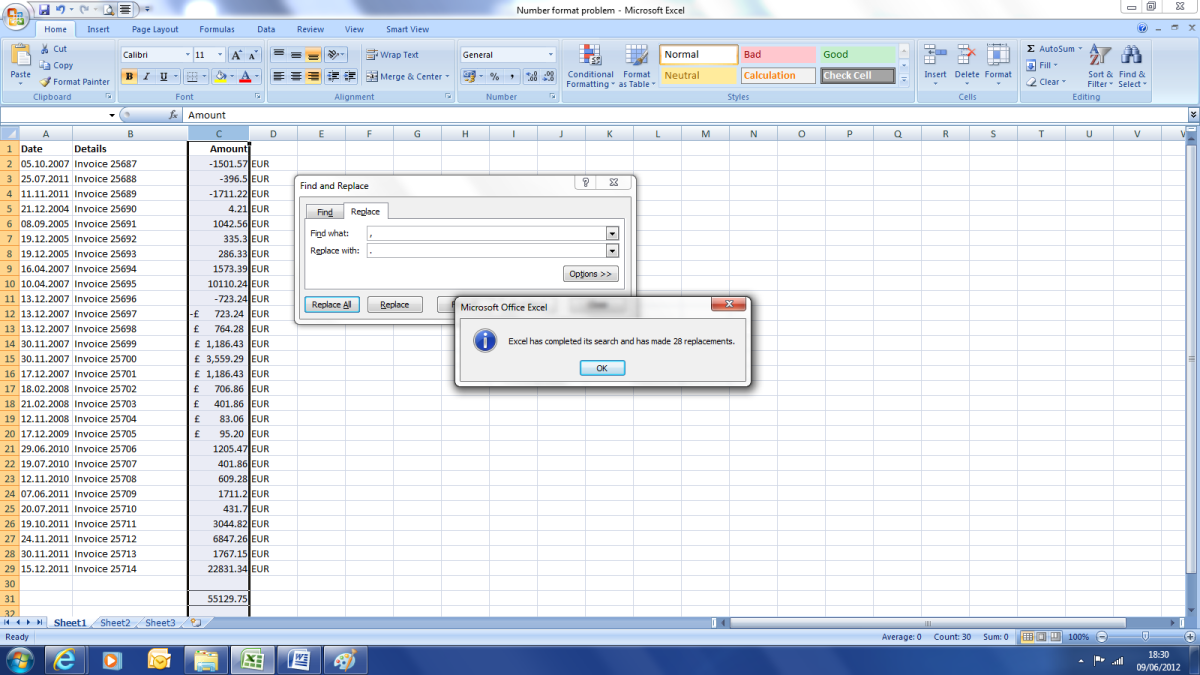 Once we have run the find and replace function we now have a . as a decimal seperator which is recognised by excel.