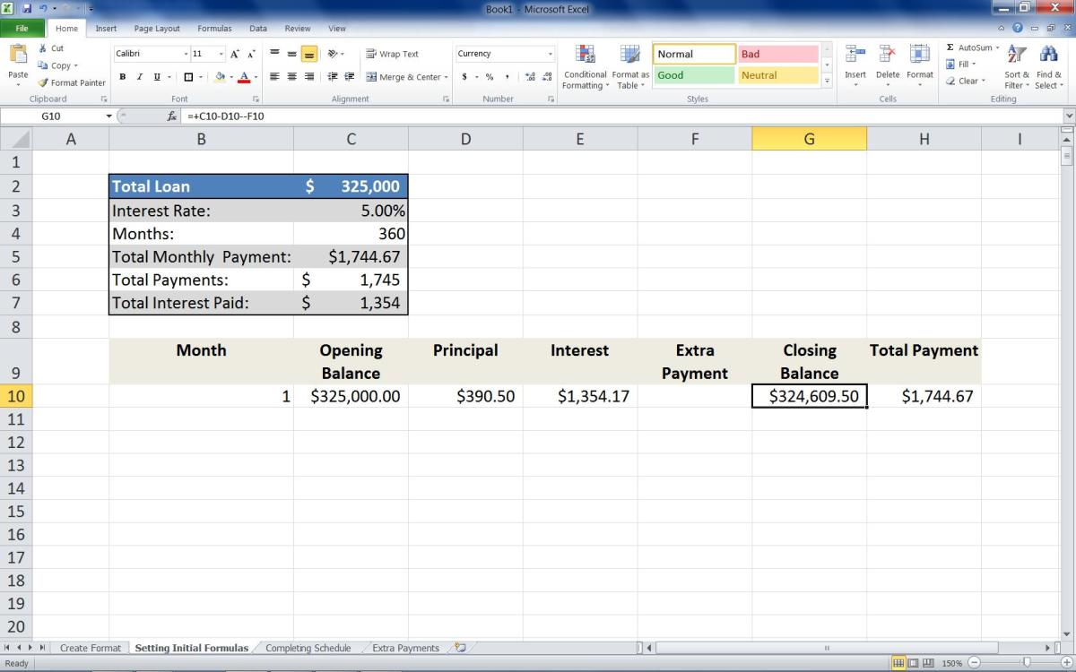 Adding the formula =+C10-D10-F10 to the first row of the Closing Balance column.