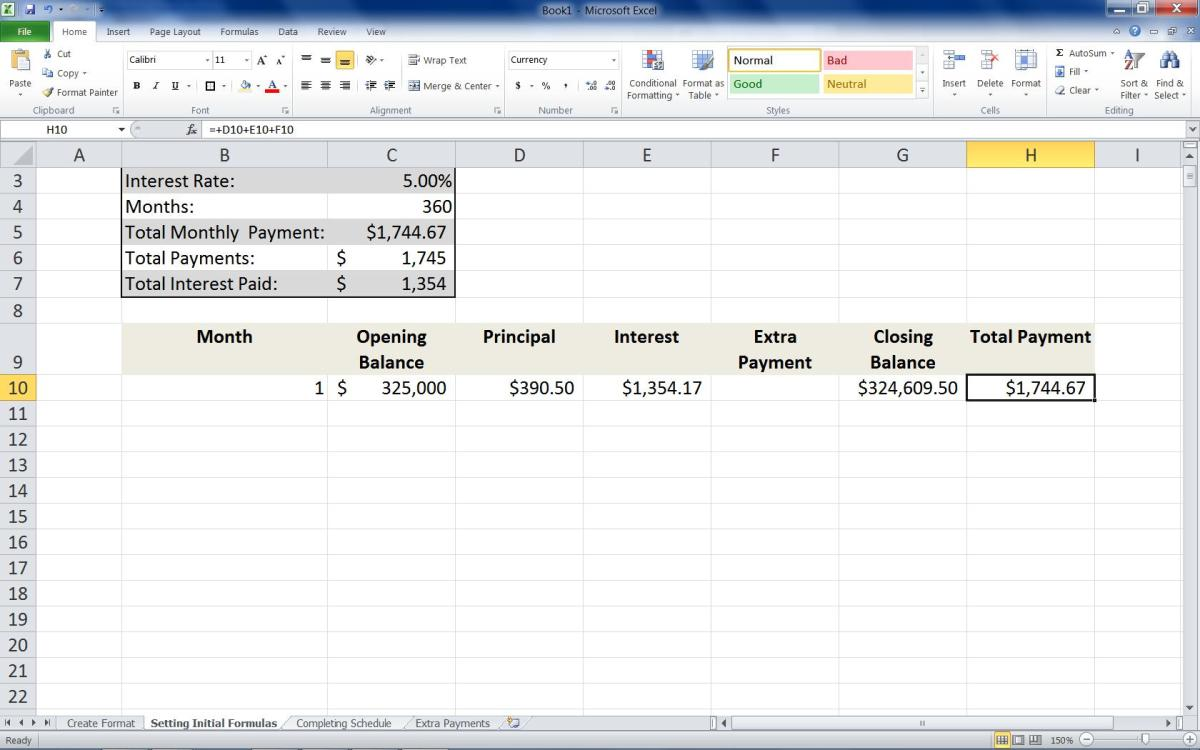 Adding the formula =+D10+E10+F10 to the first row of the Total Payment column.