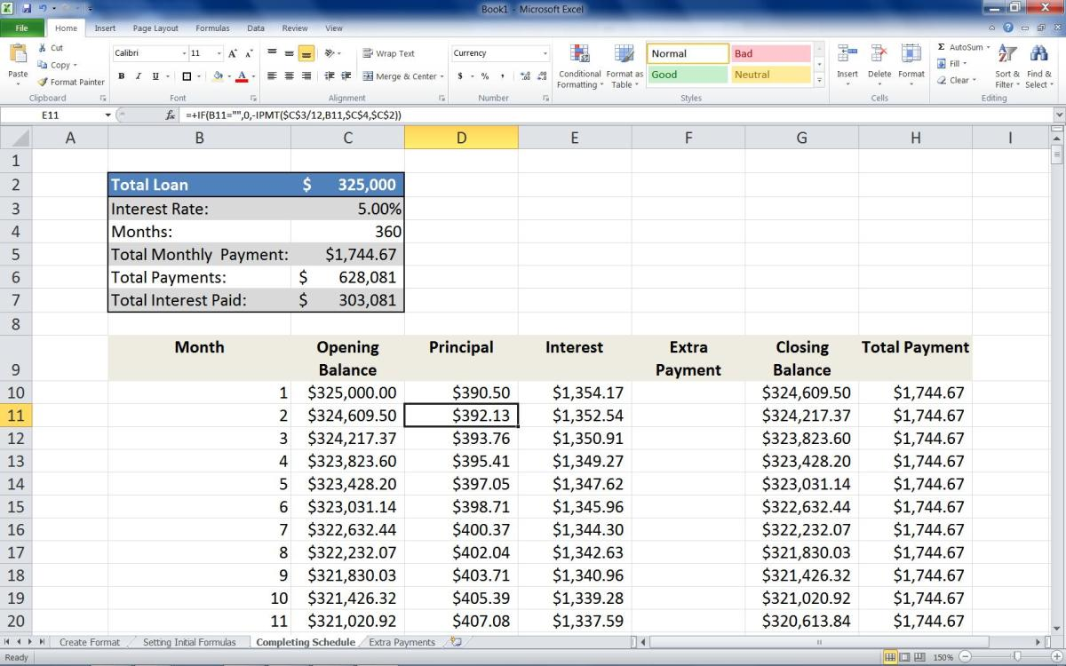 "Adding the formula =+IF(B11="""",0,-PPMT($C$3/12,B11,$C$4,$C$2)) to the Second row of the Principal column."