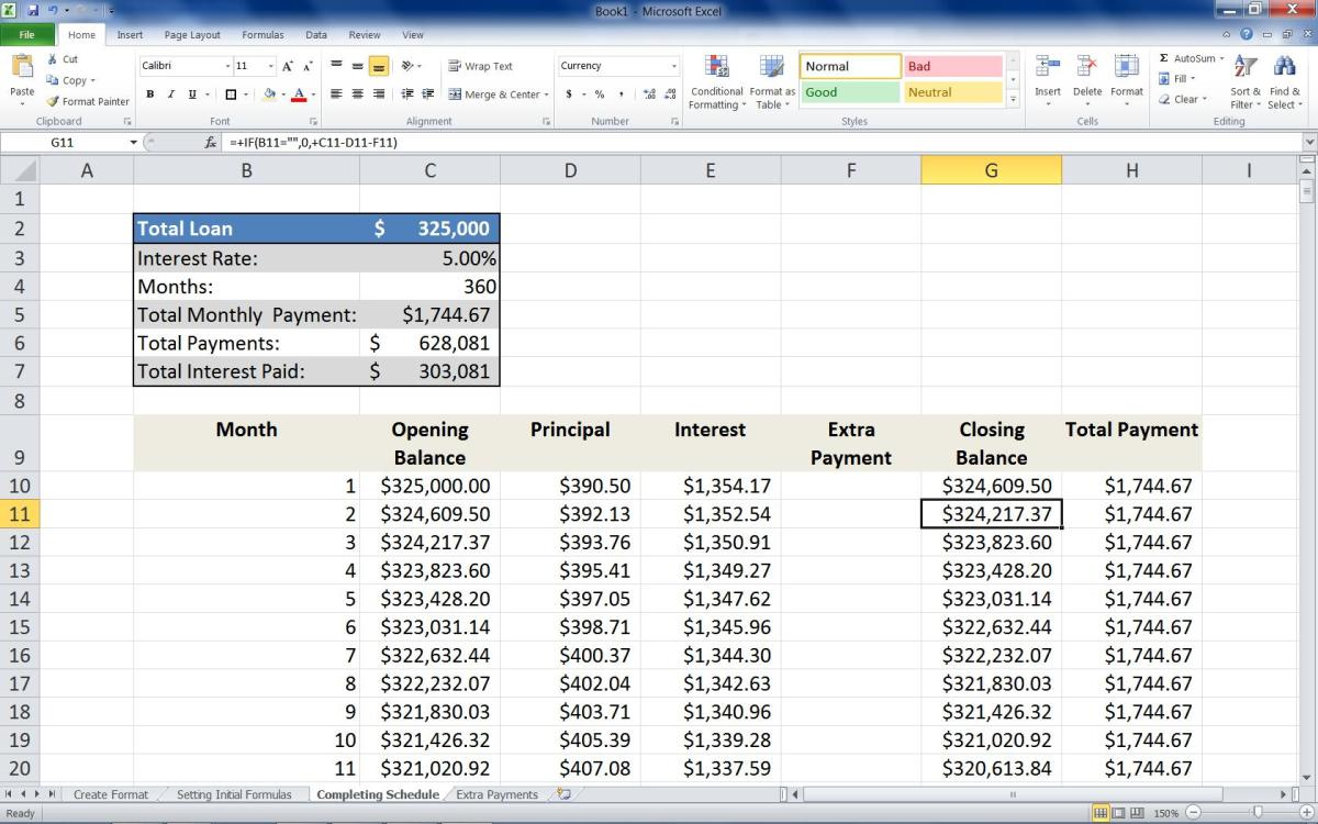 "Adding the formula =+IF(B11="""",0,+C11-D11-F11) to the Second row of the Closing Balance column."
