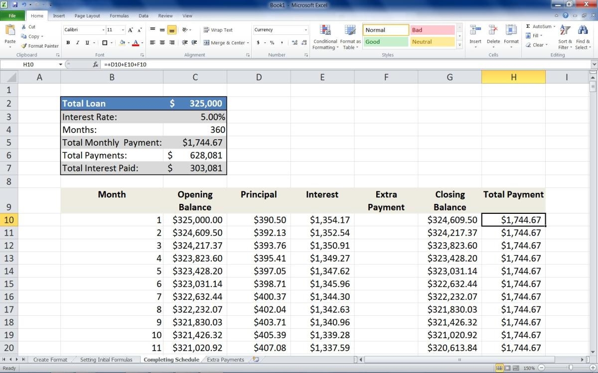 "Adding the formula =IF(B11="""",0,+D11+E11+F11)  to the Second row of the Total Payments column."