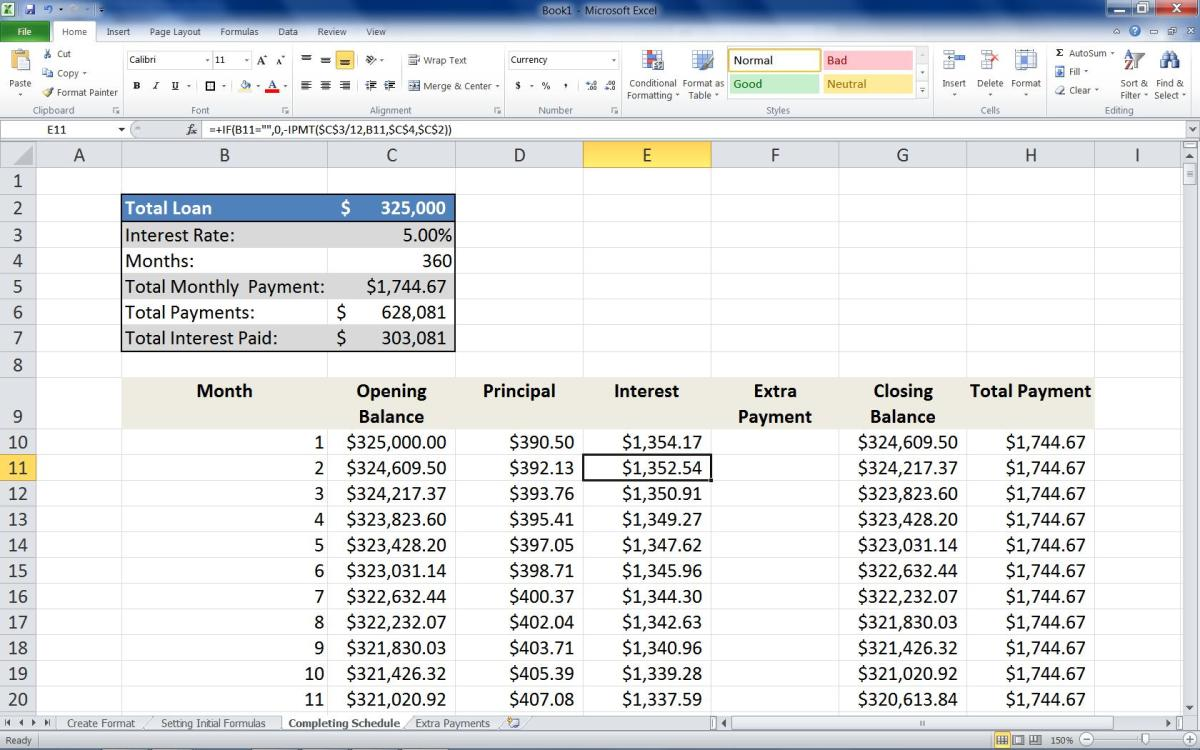"Adding the formula =+IF(B11="""",0,-IPMT($C$3/12,B11,$C$4,$C$2)) to the Second row of the Interest column."