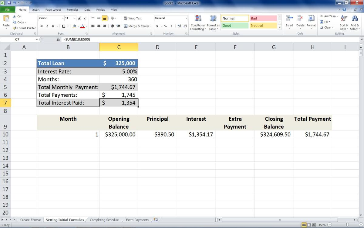 Adding the formula =SUM(E10:E500) to the Total Payments column.