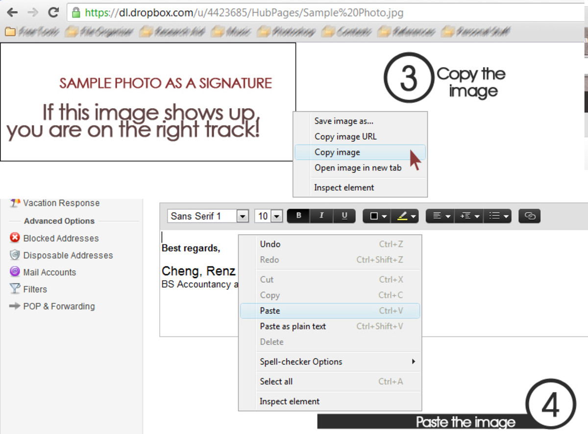 Copy the image itself, and paste it in the editing space in the Signature Tab.