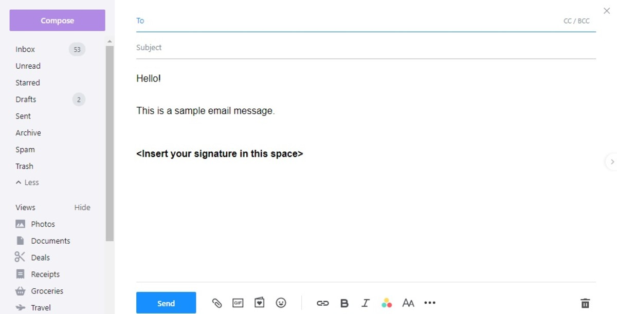 The text portion of the signature automatically appears when creating new emails