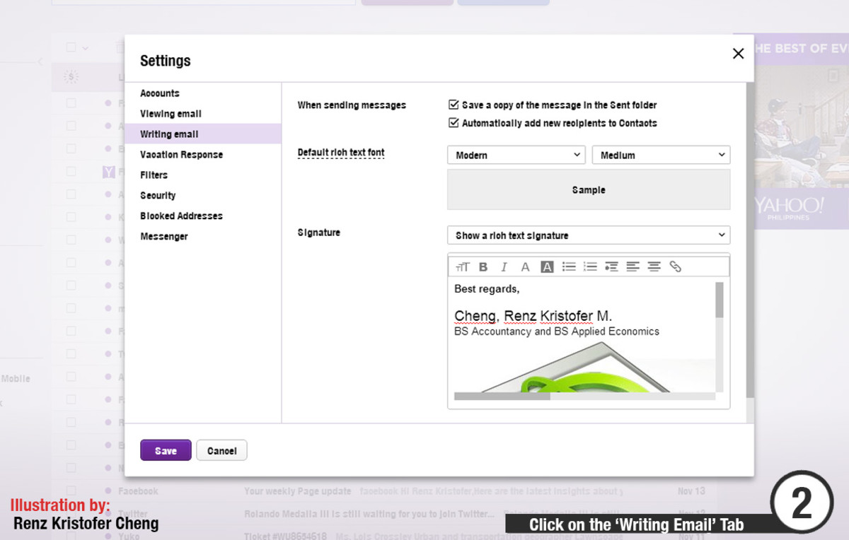 Yahoo Mail Image Signature: Step 2 - Click on the Writing Email Tab to edit signature