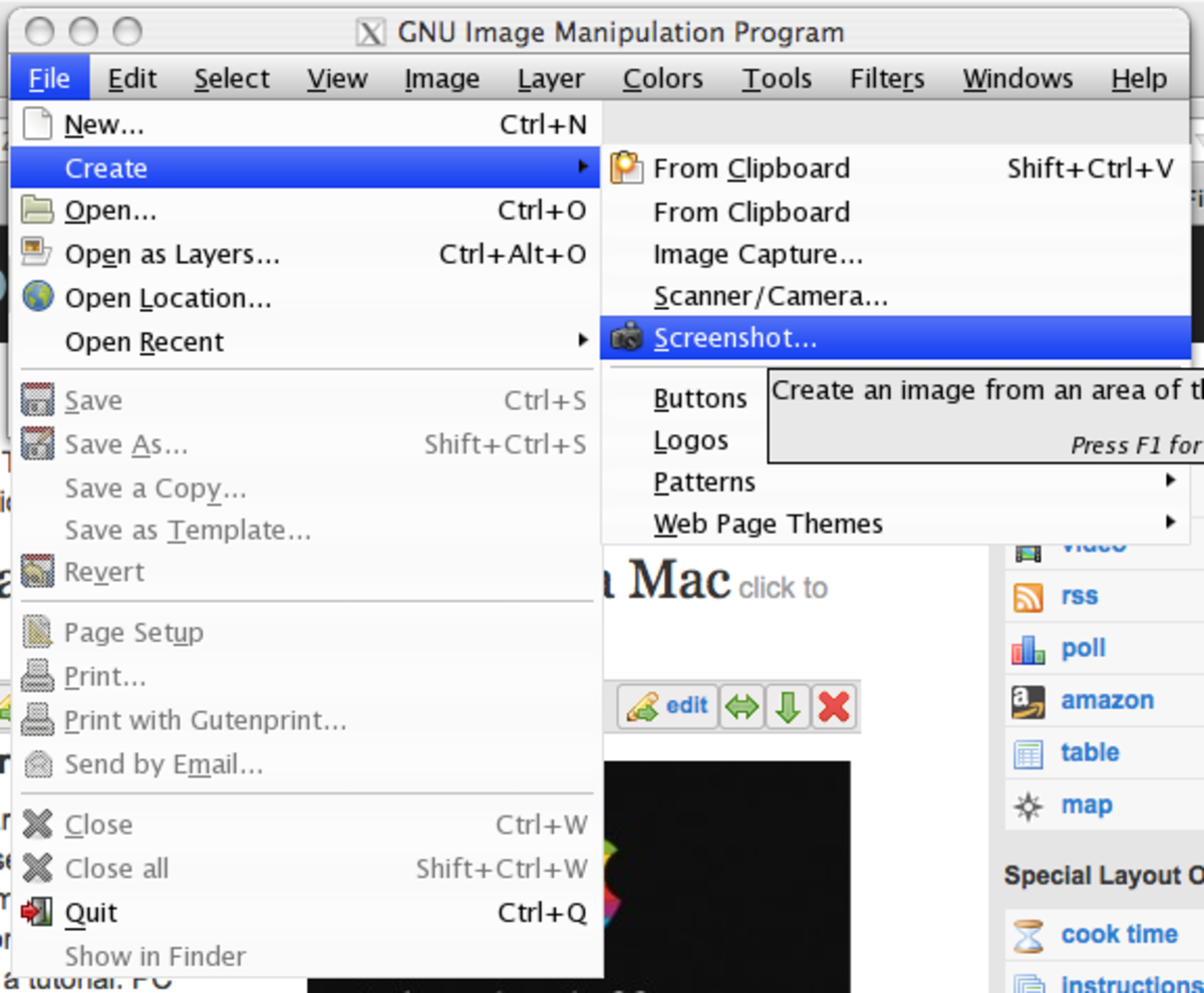 "#4 Gimp Menu Bar Enlarged with File pull down to ""Create"" and second option pull down menu to ""Screen Shot"""