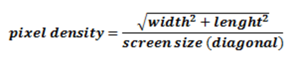 Figure 1. Calculating the pixel density knowing the resolution and size (diagonal) or a display