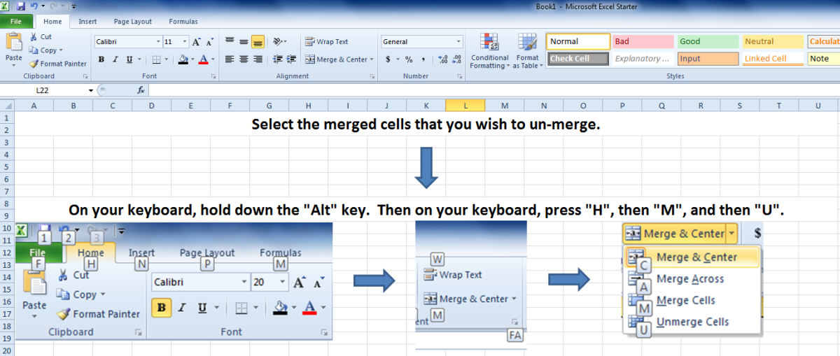 A screenshot showing how to unmerge cells using a keyboard shortcut.