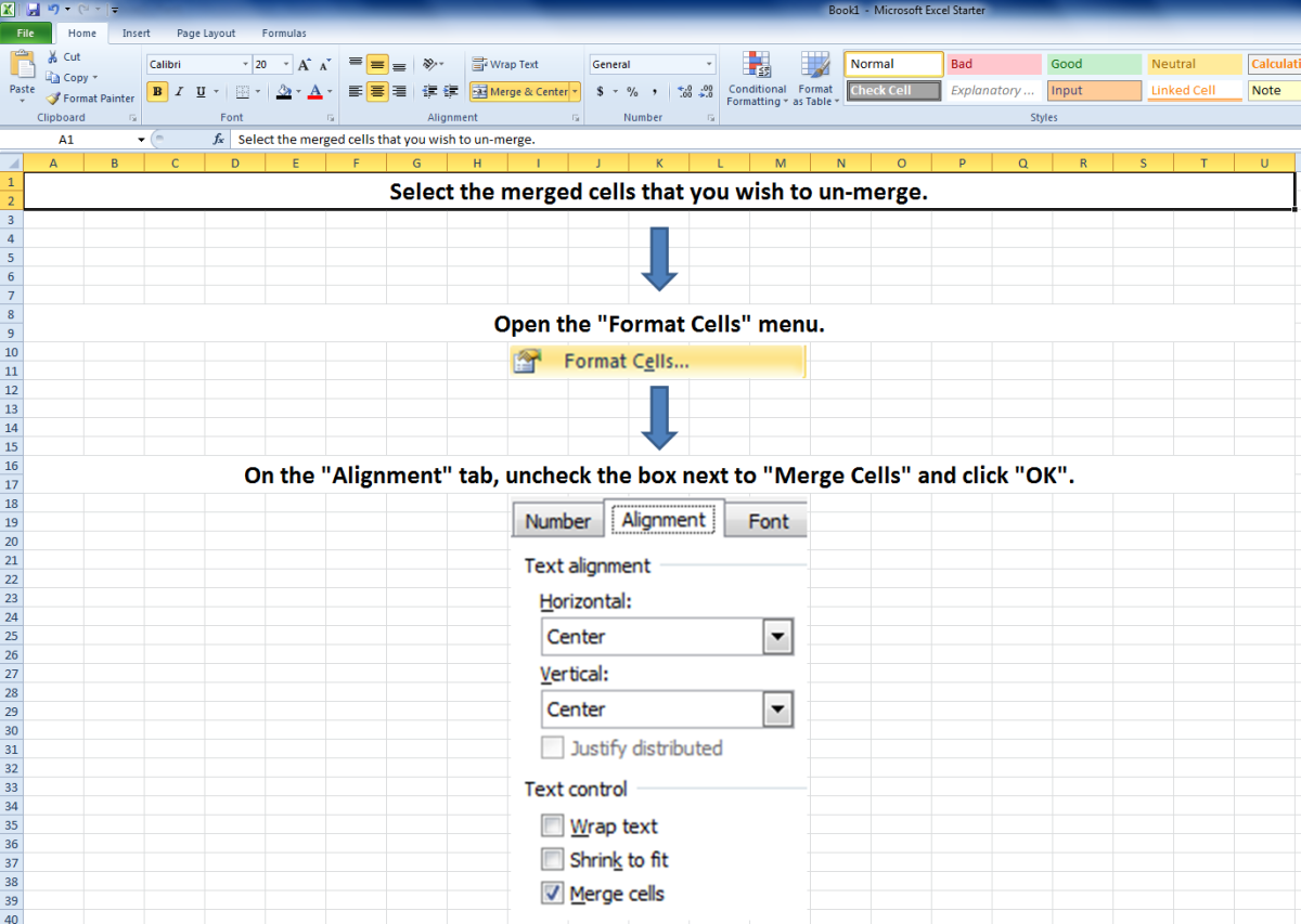 "A screenshot showing how to unmerge cells using the ""Format Cells"" menu."