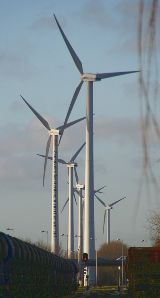 Wind farm in a northern suburb of Amsterdam, the Netherlands.