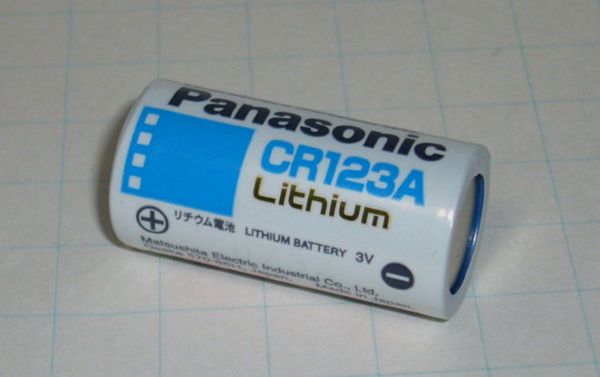 CR123A 3 volt non-rechargeable lithium battery. These are often used in cameras and wireless sensors for security alarms.