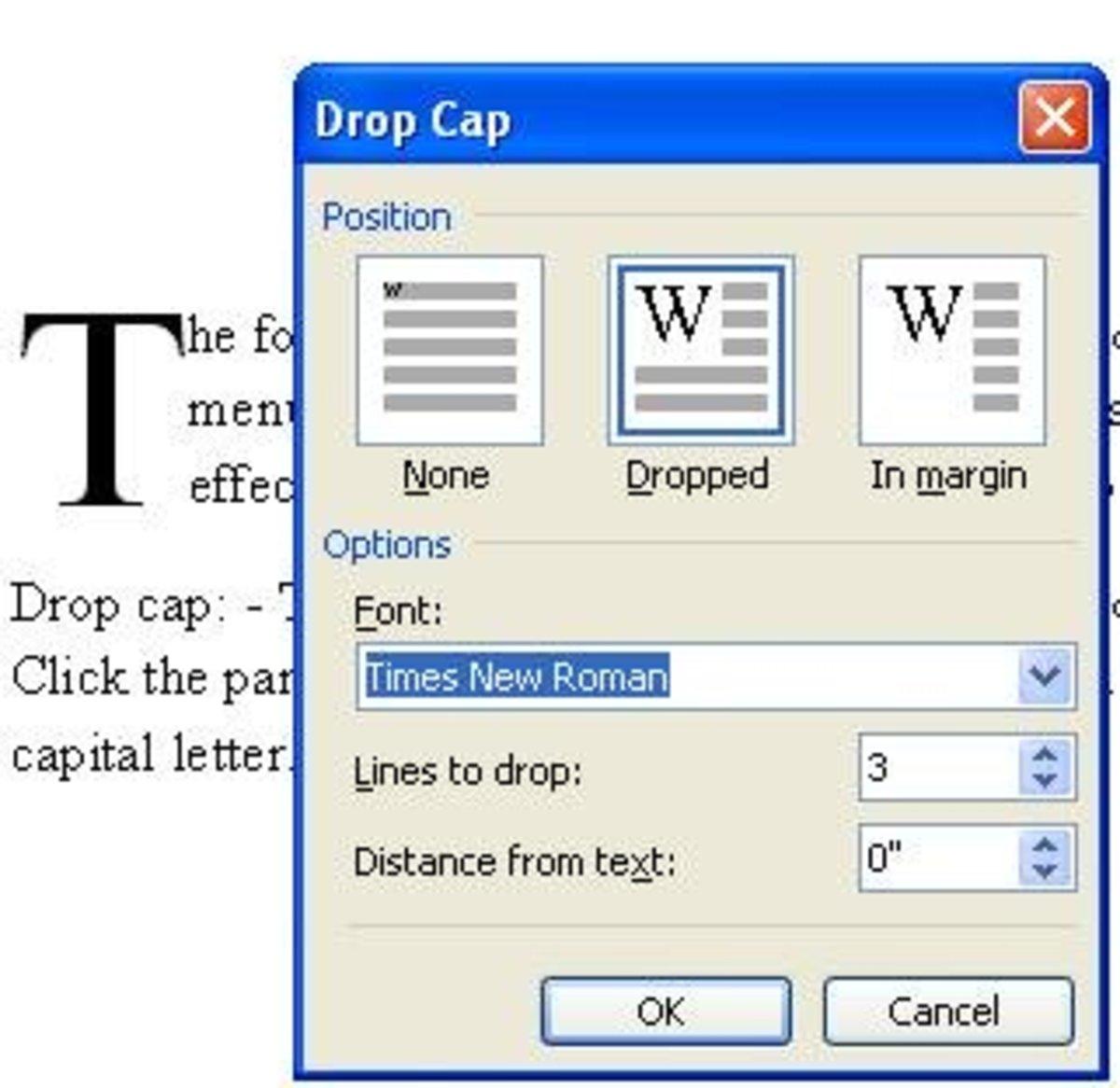 Drop Cap Option in MS Word 2003