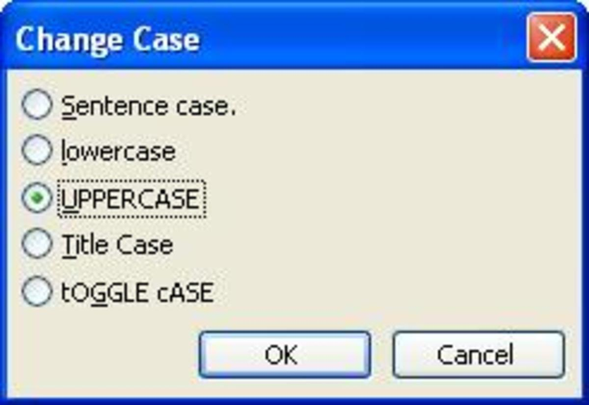 The different sentence cases available