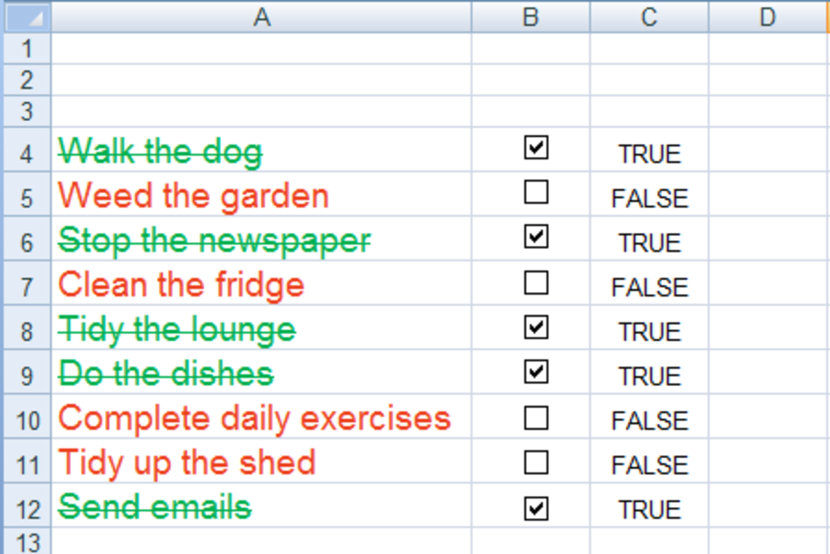 Using Conditional formatting to increase the visual impact of a To Do list in Excel 2007 or Excel 2010.