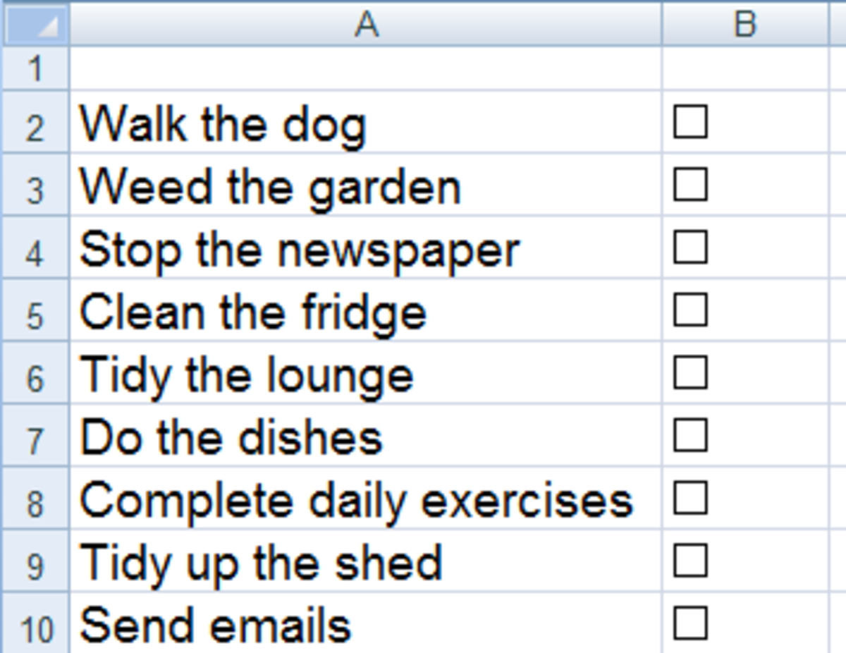 Perfectly aligned check boxes in Excel 2007 or Excel 2010.