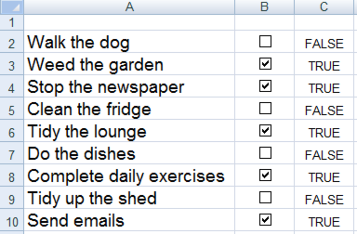 Check boxes showing their linked cells in Excel 2007 or Excel 2010.