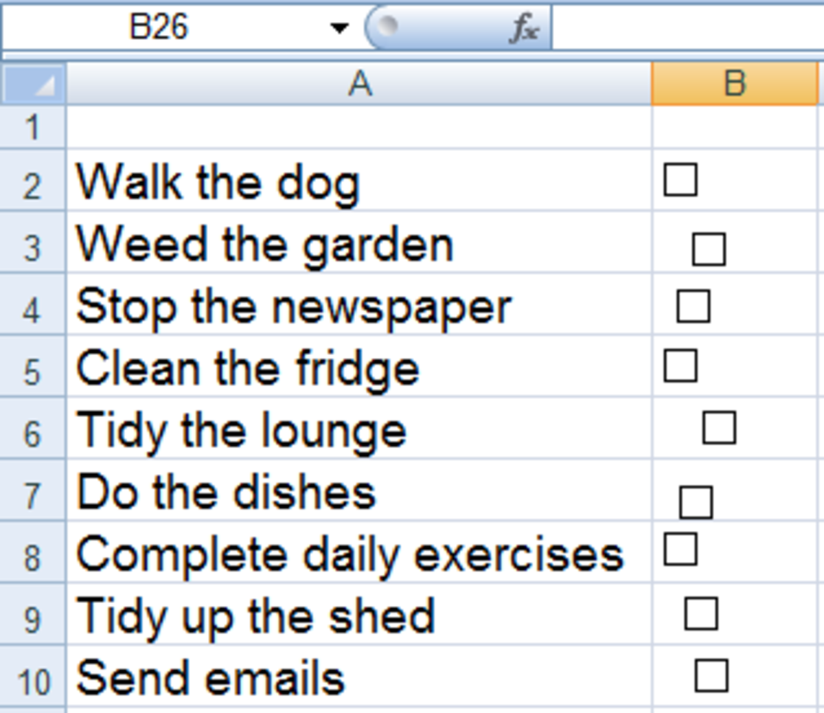 Newly created check boxes before being aligned in Excel 2007 or Excel 2010.