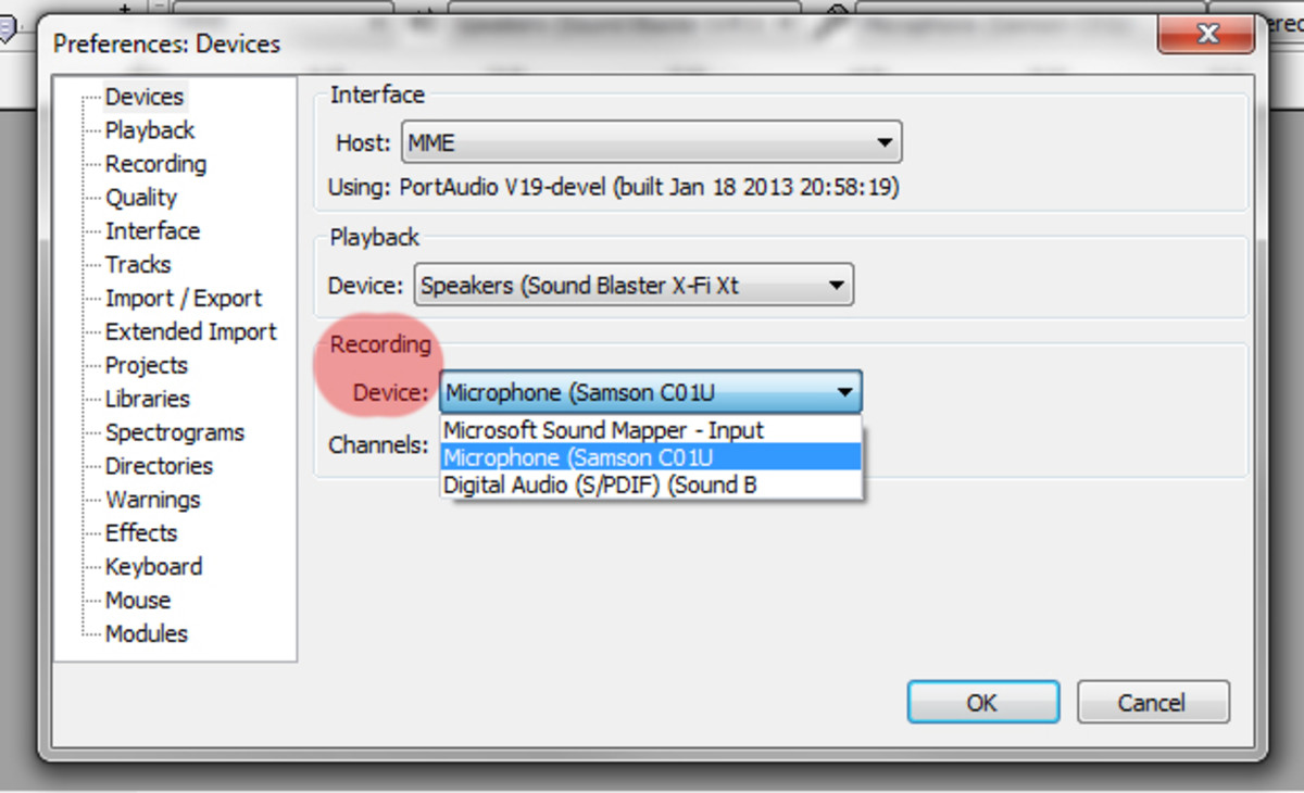 Selecting the microphone in Audacity.