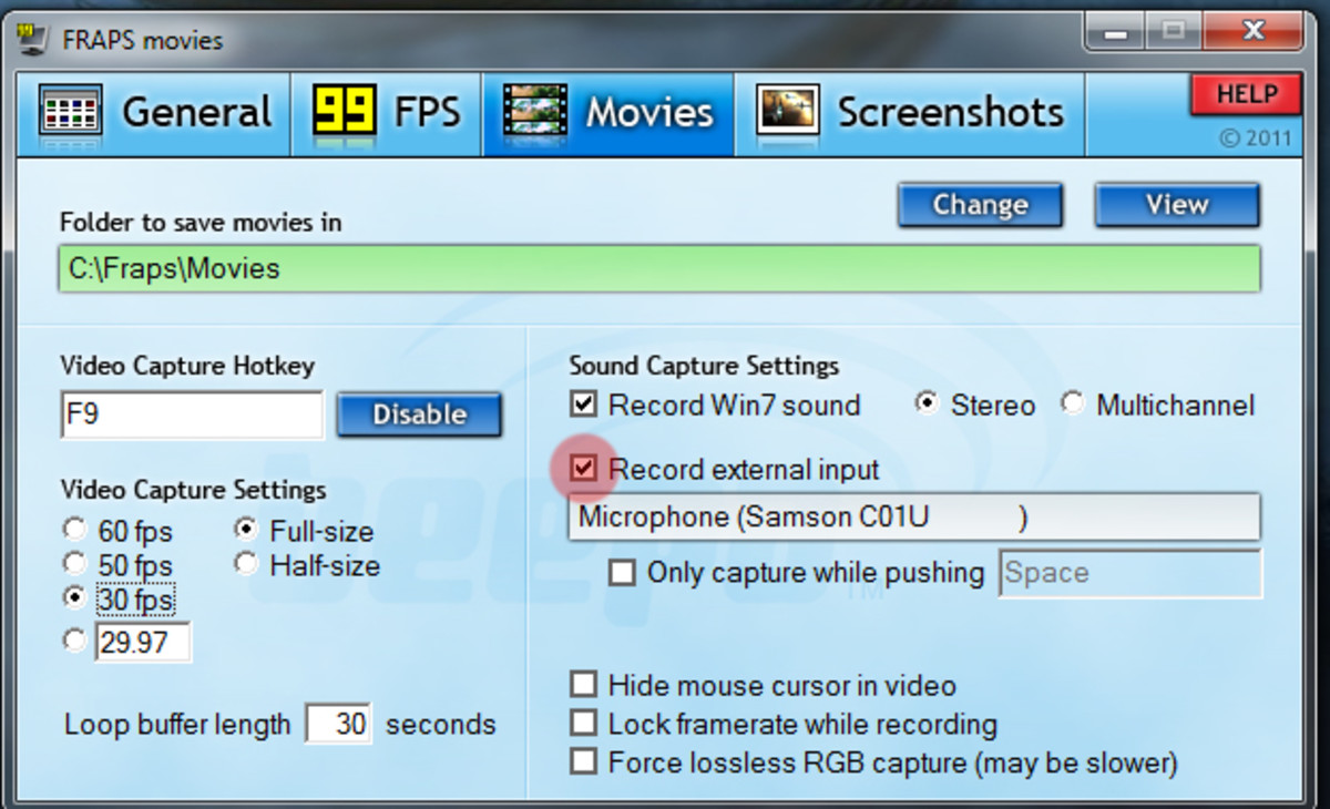 In the movies section, select your microphone to record your commentary.