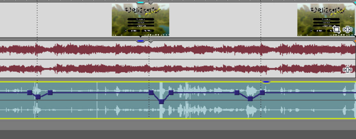 Adjusting audio levels in Sony Vegas by adding keyframes to the audio level.