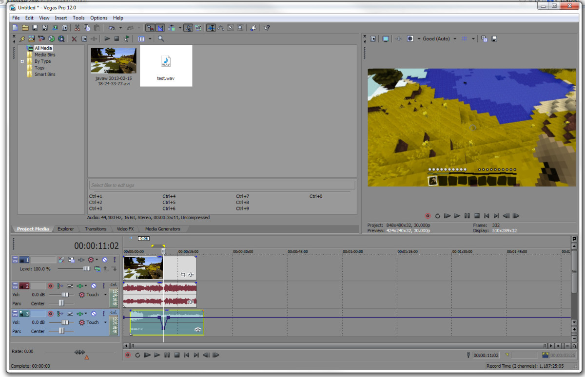 Syncing audio and video in Sony Vegas Pro 12