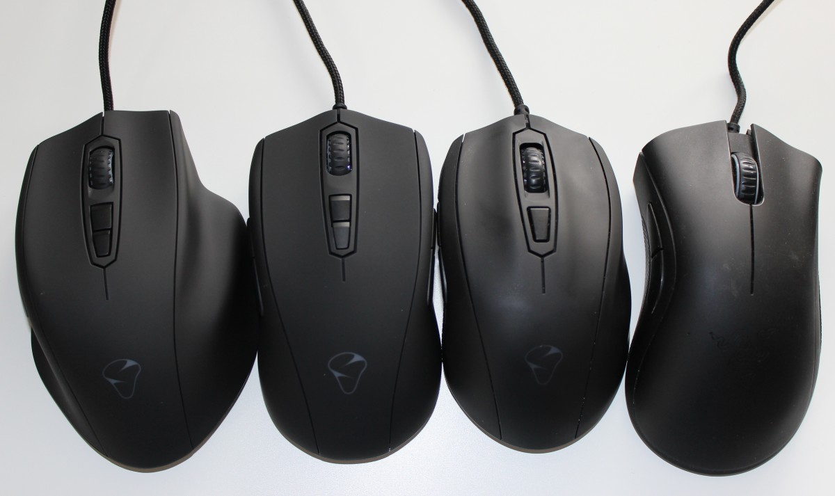 This is a picture I recently took to show the difference in shape, starting right to left, of the Razer DeathAdder, Mionix Castor, Avior, and Naos 7000.