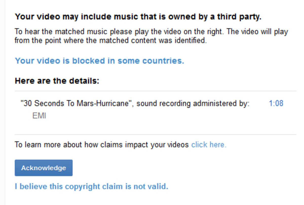 Example of Content ID Match where video is blocked in some countries.