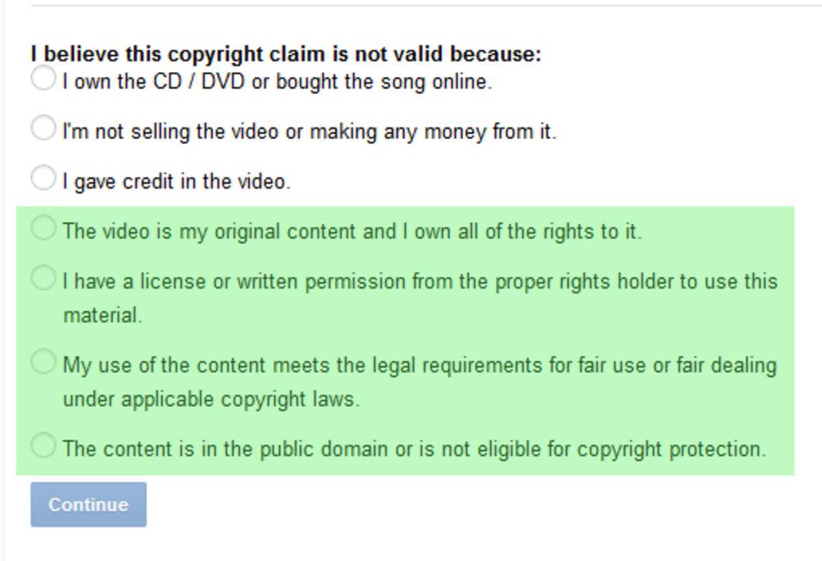 Reasons for disputing a claim (highlighted in green).