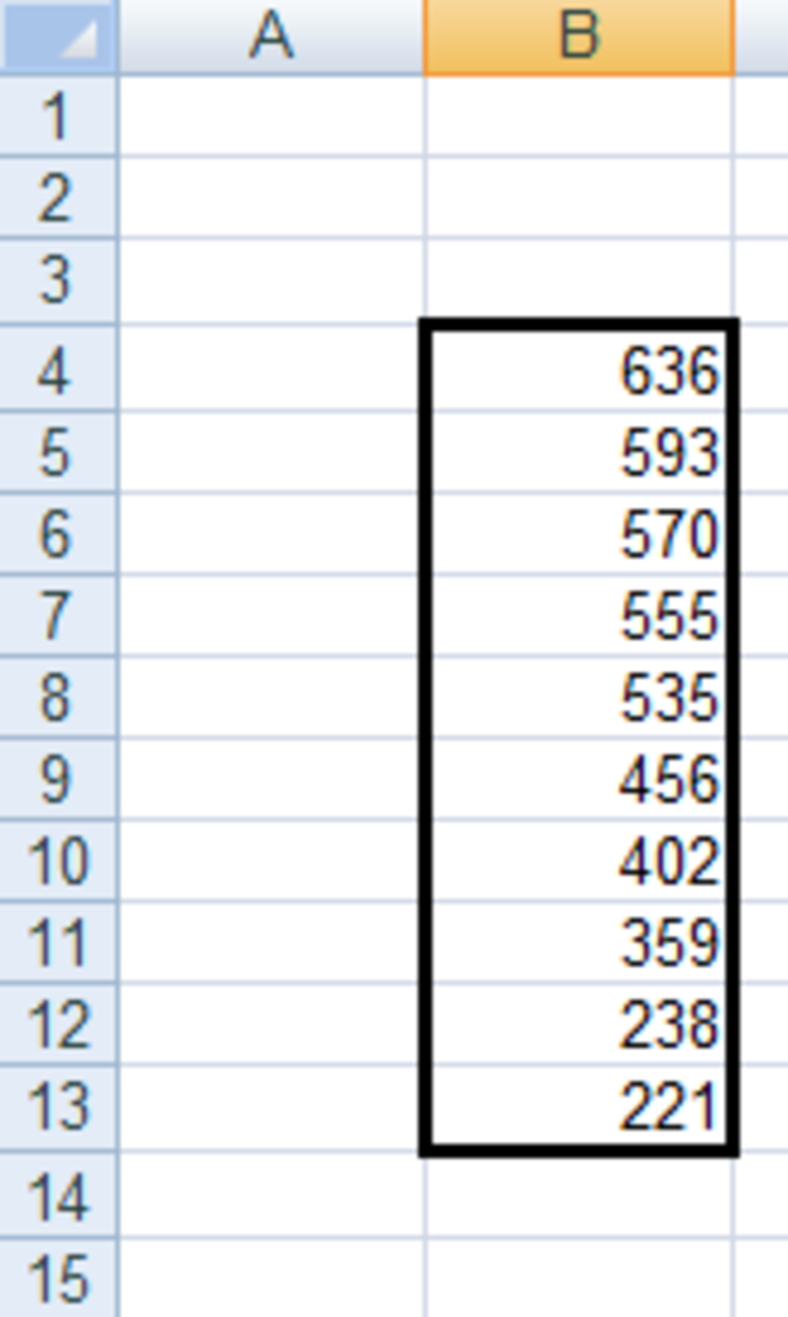 Highest 10 values from a data range obtained using the LARGE function in Excel 2007.