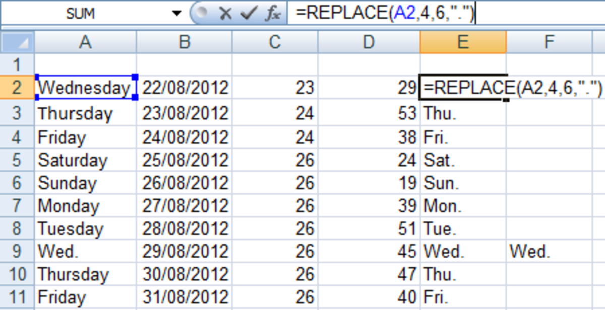 Example of a formula utilising the REPLACE function in Excel 2007 and Excel 2010.