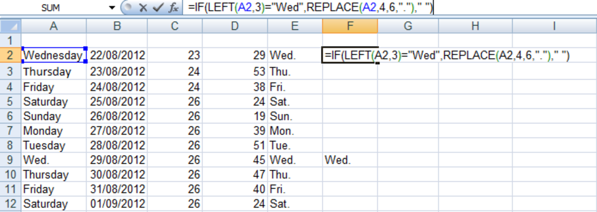 Illustration of a formula using IF, LEFT and REPLACE in Excel 2007 and Excel 2010.
