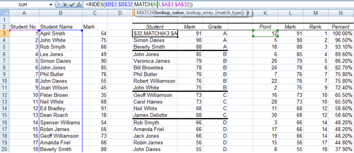 The MATCH and INDEX function matching the results with the student's name in Excel 2007 and Excel 2010.