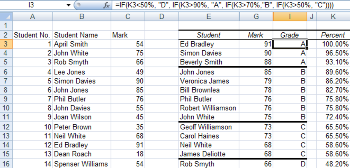 Using an IF statement to assign student's a grade in Excel 2007 and Excel 2010.