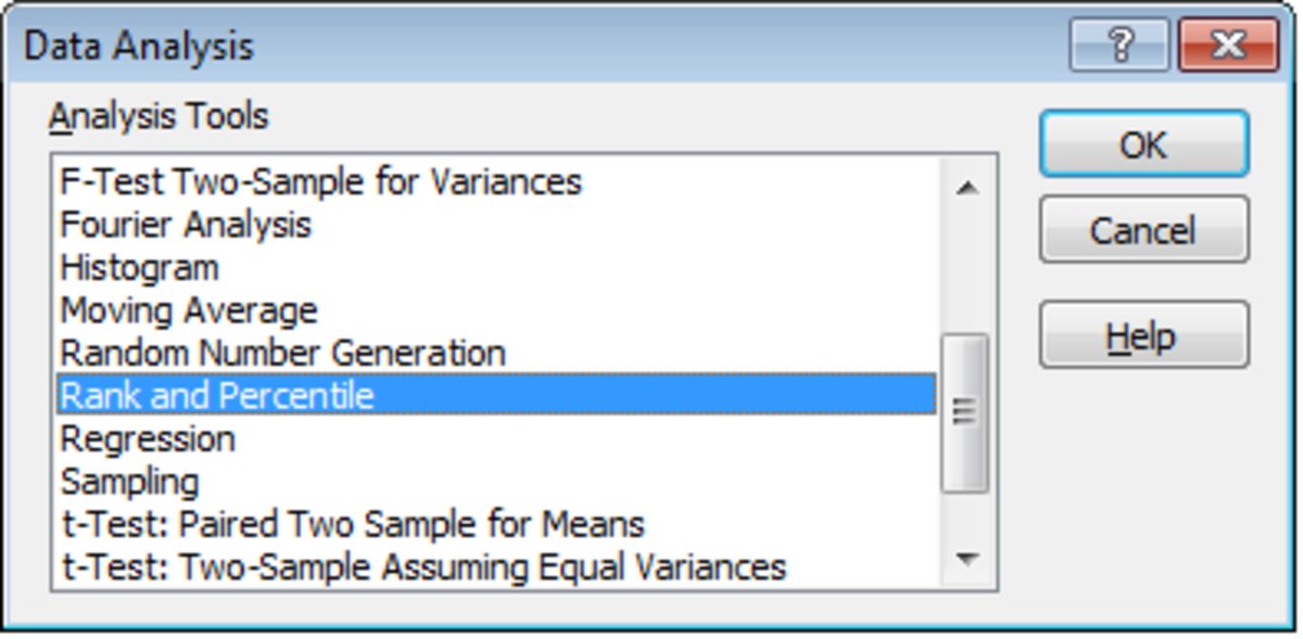 Selecting the Rank and Percentile Tool in the Analysis ToolPak using Excel 2007 and Excel 2010.