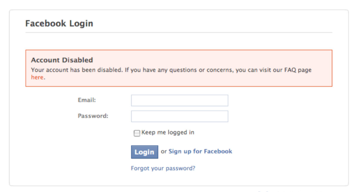 Facebook Login Account Disabled Message