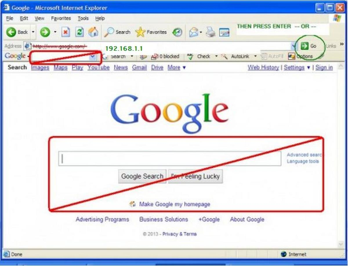 Keying the router's IP address in a search engine or search bar will never work.